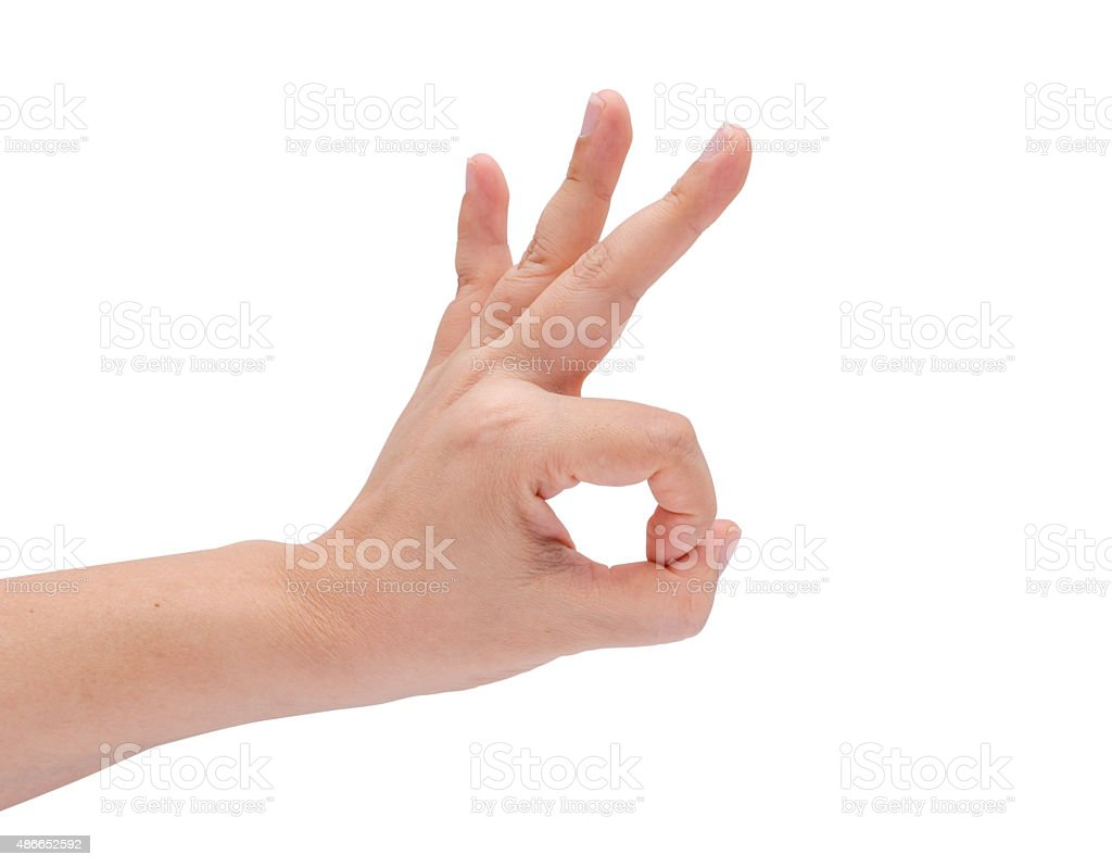 Ok  hand on white stock photo