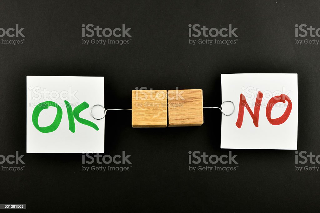 ok no, two paper notes on black background for presentation royalty-free stock photo