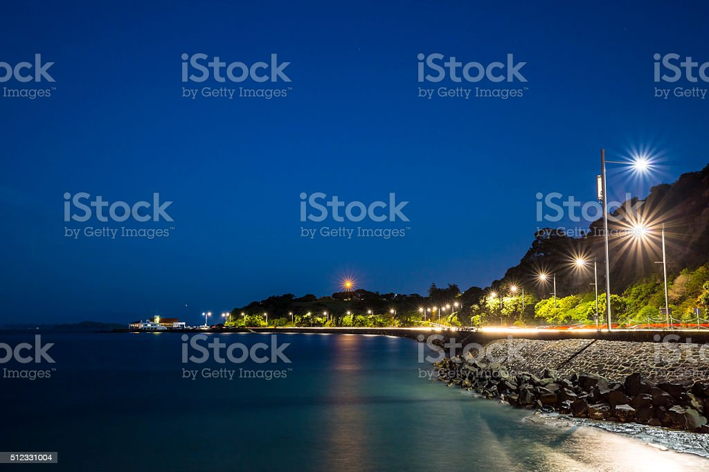 Okahu Bay at Night stock photo
