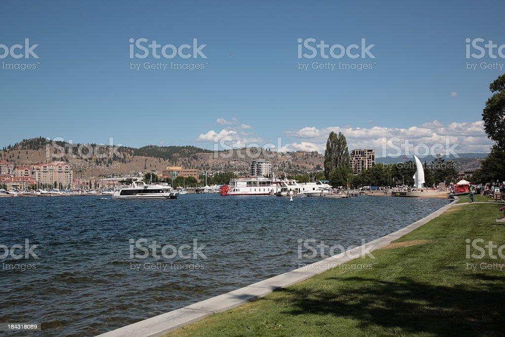 Okanagan lake and Kelowna royalty-free stock photo