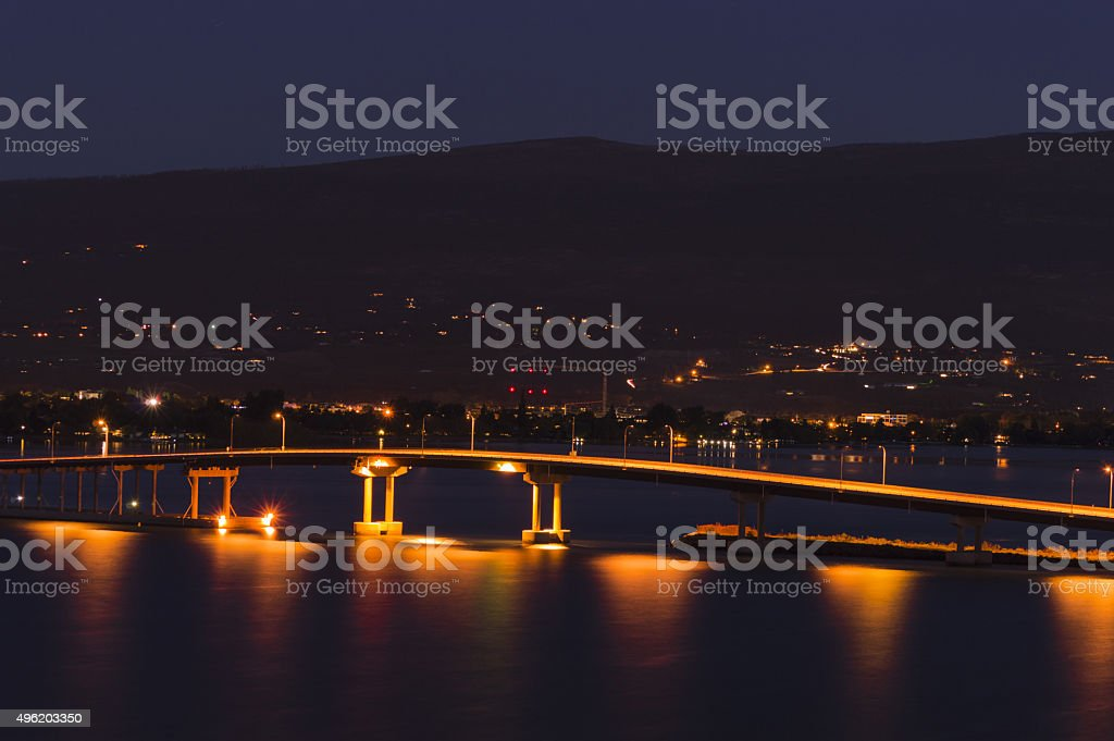 Okanagan Lake Bridge Kelowna BC Canada at Night stock photo