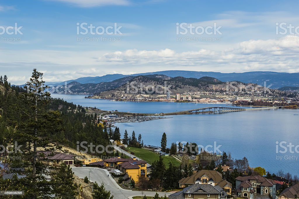 Okanagan Lake Bridge Kelowna BC Canada stock photo