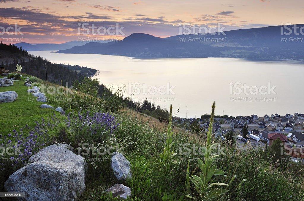 Okanagan lake in the cloudy morning stock photo