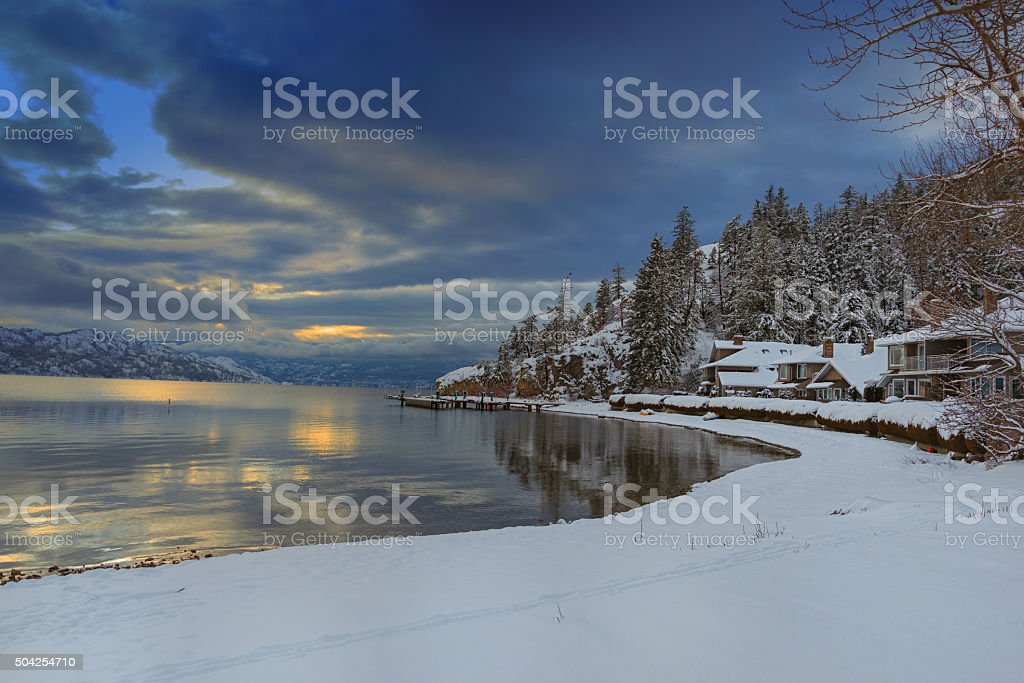 Okanagan Lake Kelowna British Columbia in Winter stock photo
