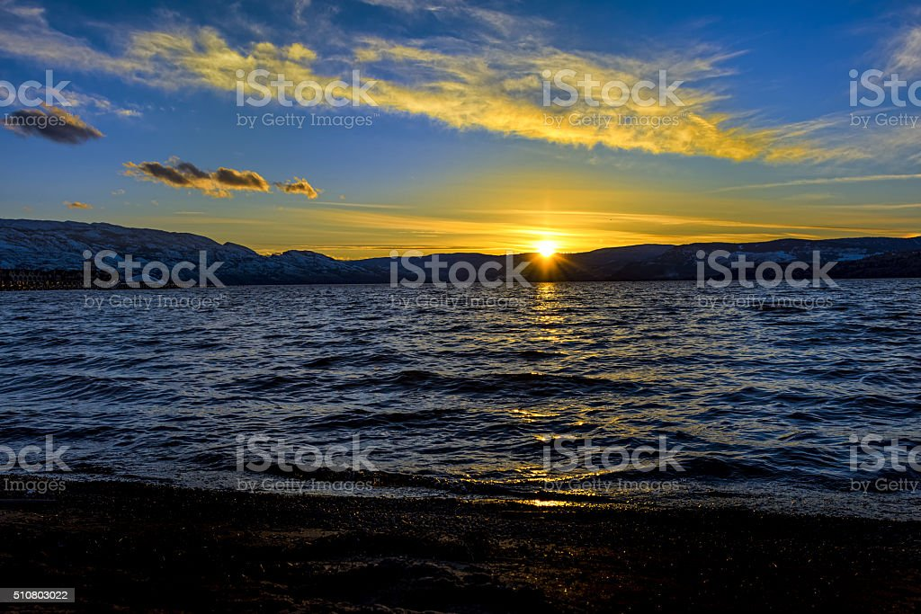 Okanagan Lake Sunset Kelowna British Columbia Canada stock photo