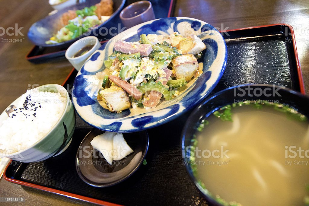 Okinawa bitter gourd with egg stock photo
