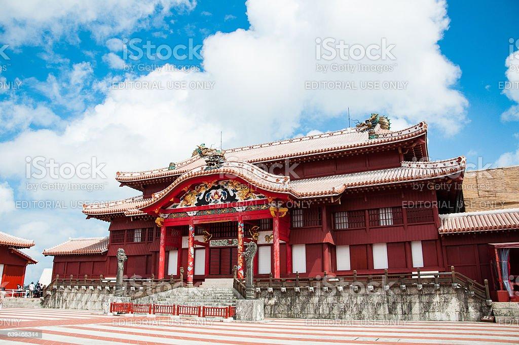 Okinawa Castle or Shuri Castle under the Clear Blue Sky stock photo