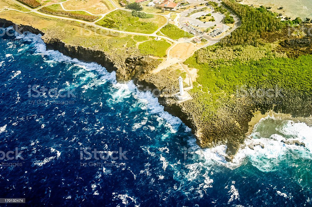 Okinawa, Japan Aerial View: Cape Zanpa stock photo