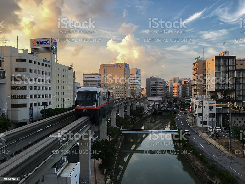 Okinawa Monorail (Yui-Rail) in the evening at Asahibashi Station stock photo