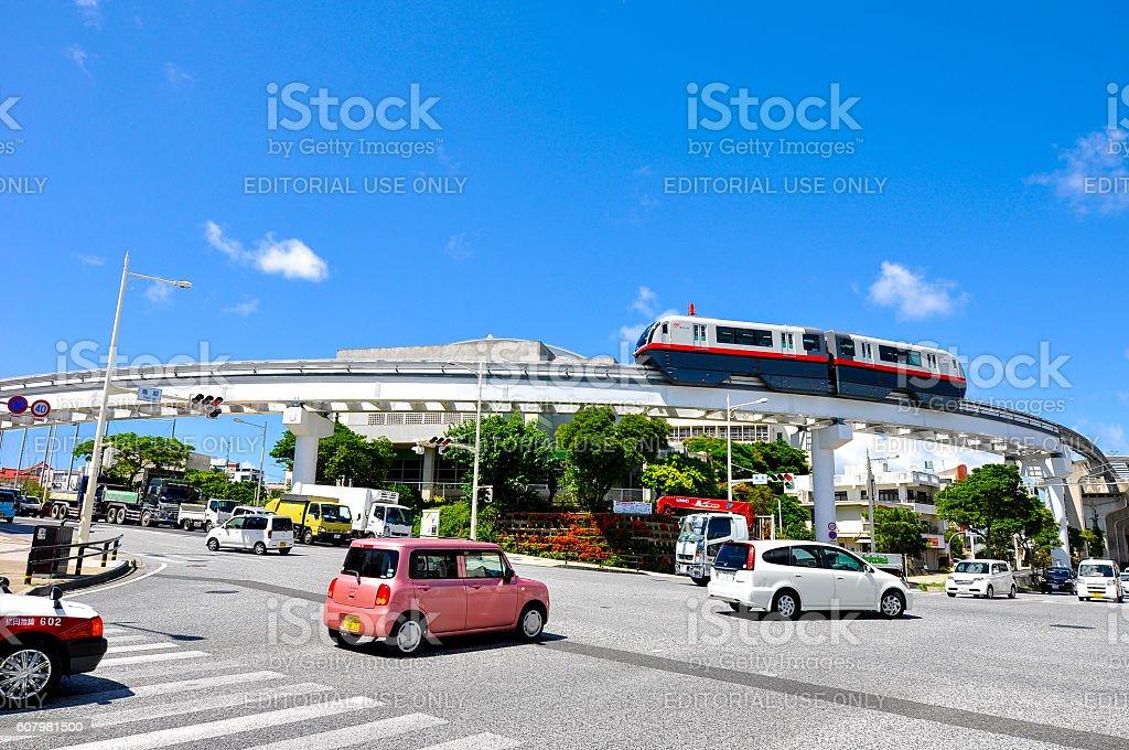 Okinawa Monorail (Yui-Rail) near Shuri station stock photo