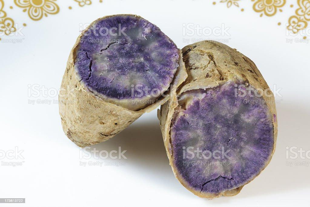 Okinawa Sweet Potato on a plate stock photo