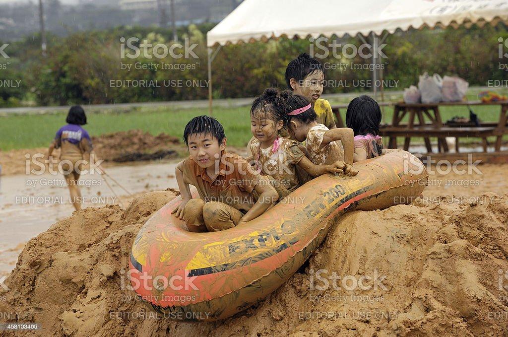 Okinawan Mud Festival royalty-free stock photo