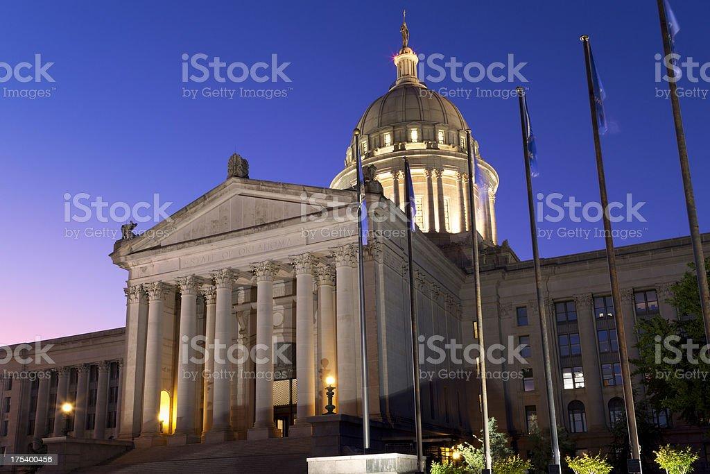 Oklahoma Capitol Building at Night stock photo