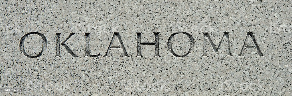 Oklahoma - Carved into Granite royalty-free stock photo