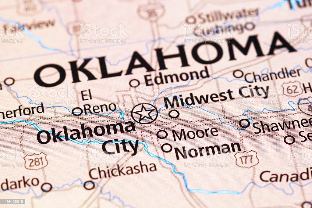 Oklahoma City area on a map stock photo