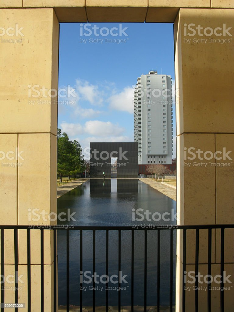 Oklahoma City Federal Building by Timothy McVeigh Bombing Memorial stock photo
