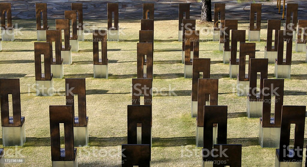 Oklahoma City Memorial - Field of Chairs royalty-free stock photo