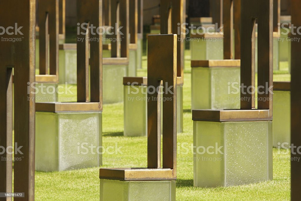 Oklahoma City National Memorial Chairs royalty-free stock photo