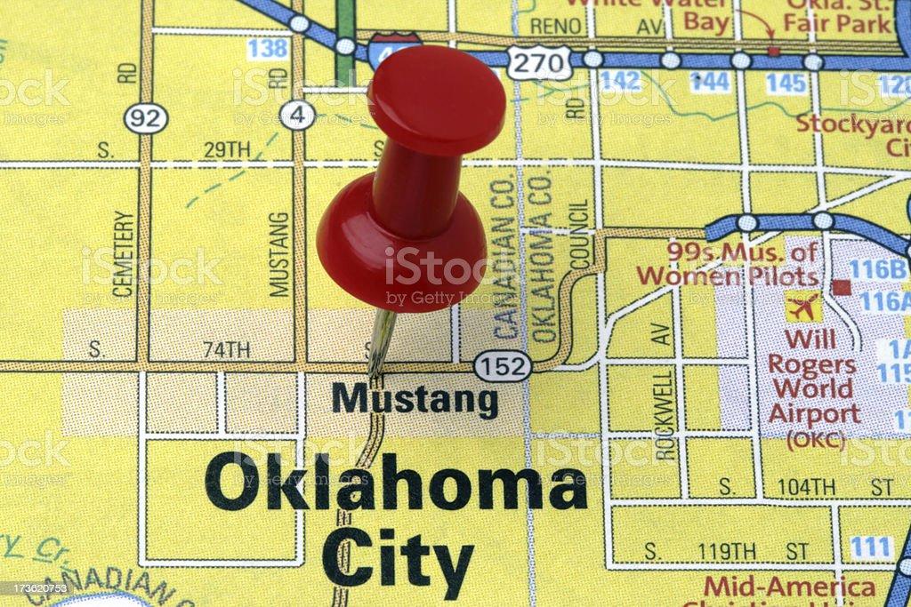 Oklahoma City on a map. royalty-free stock photo