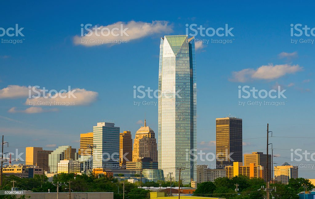Oklahoma City skyline at late afternoon stock photo
