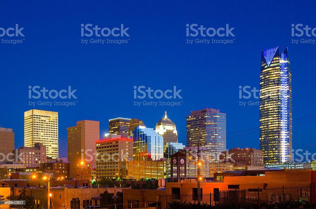Oklahoma City Skyline with Devon Tower at Dusk stock photo