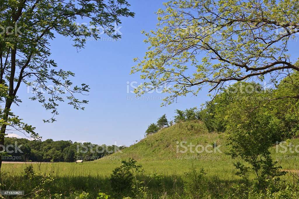 Oklahoma: Covered constructed Hillock at Spiro Mounds stock photo