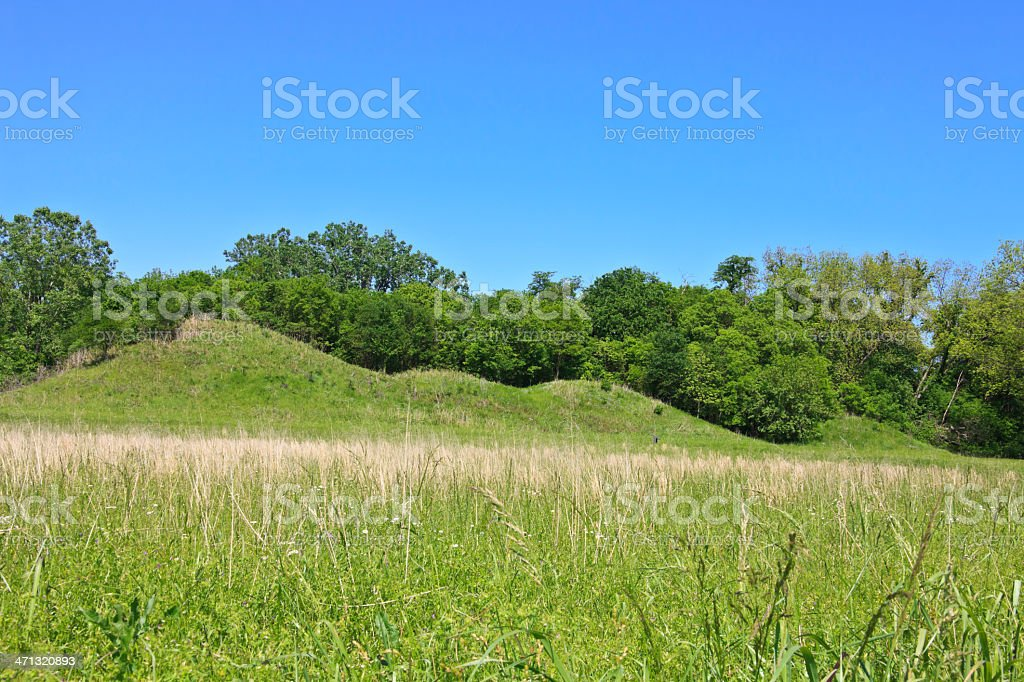 Oklahoma: Covered constructed hillocks at Spiro Mounds stock photo