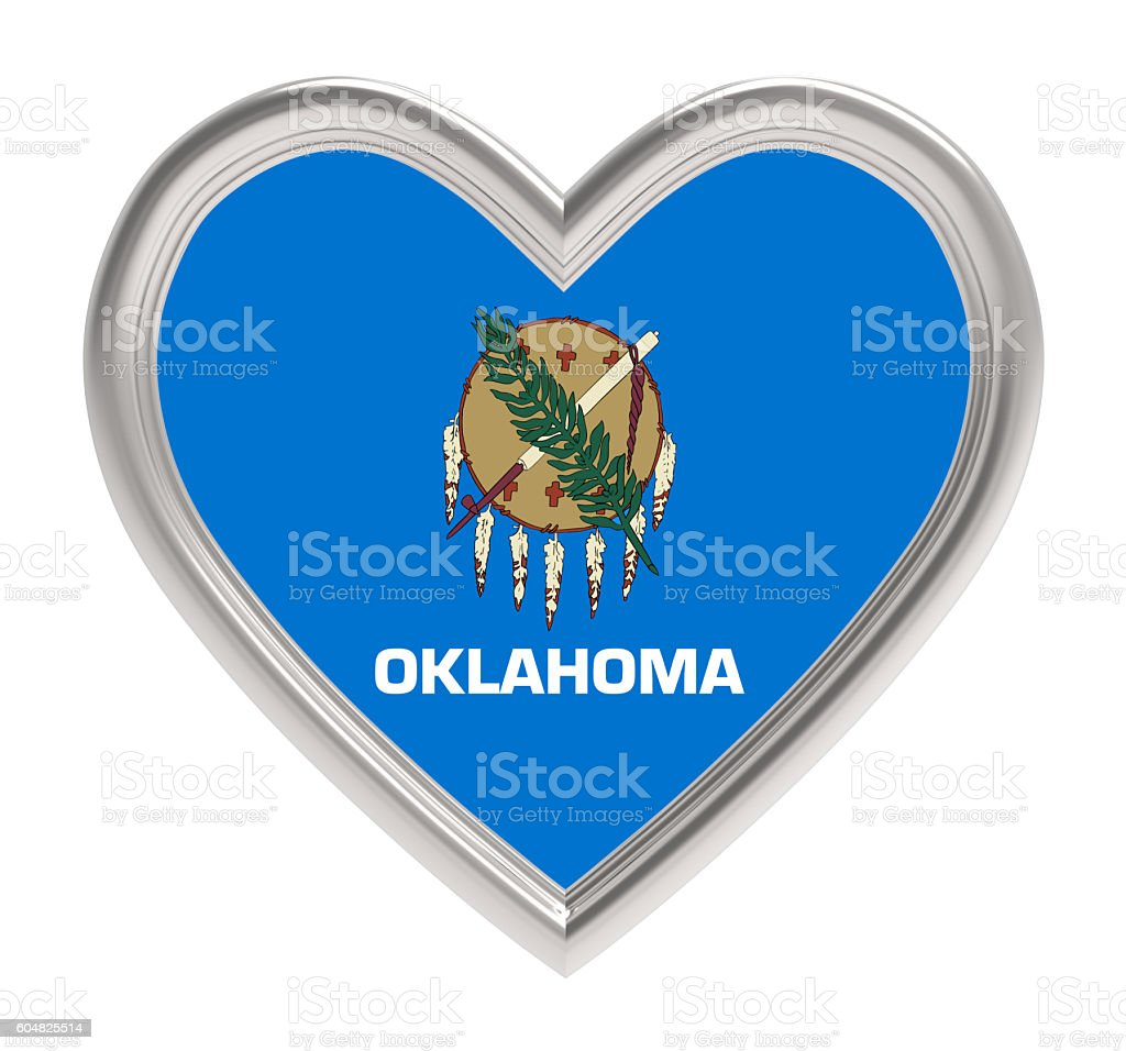 Oklahoma flag in silver heart isolated on white background. stock photo