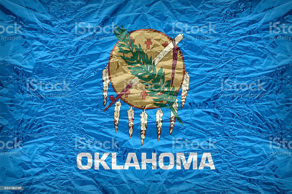 Oklahoma flag pattern overlay on floyd of candy shell stock photo