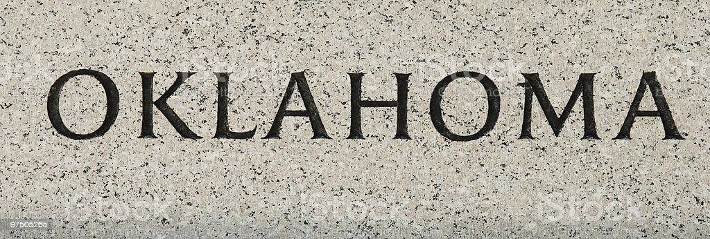 Oklahoma inscribed in marble royalty-free stock photo
