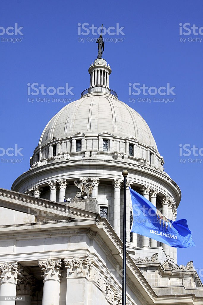 Oklahoma State Capital Dome with Flag royalty-free stock photo