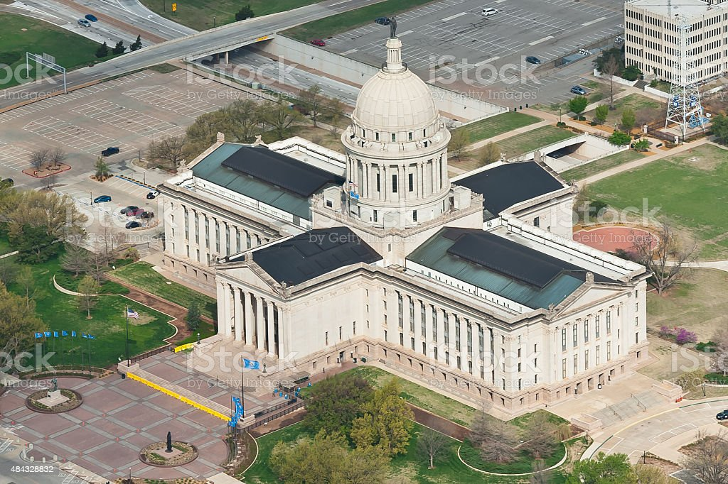 Oklahoma State Capitol Building, Aerial View stock photo