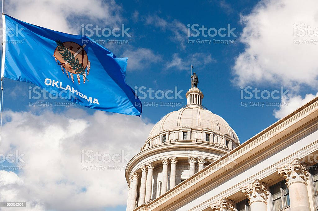 Oklahoma State Capitol Building and Flag stock photo