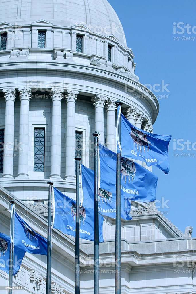Oklahoma State Capitol Dome with Flags royalty-free stock photo