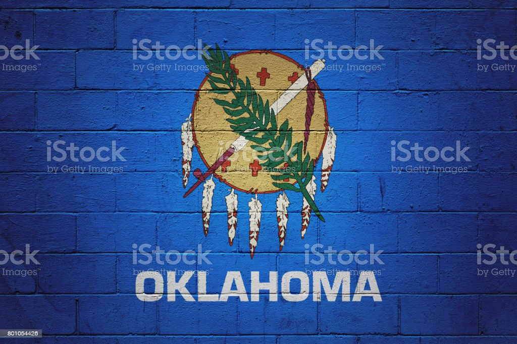 Oklahoma state flag painted on a wall stock photo