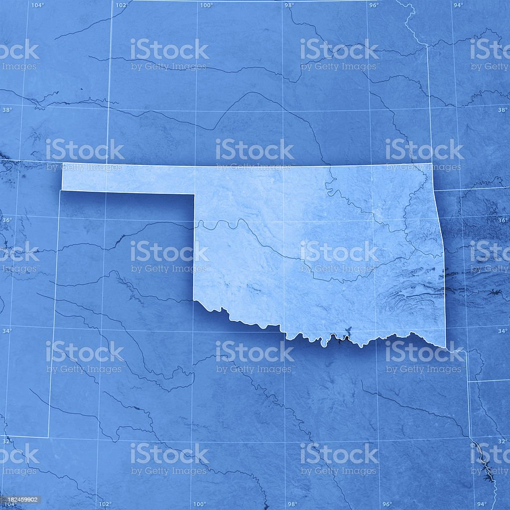 Oklahoma Topographic Map stock photo