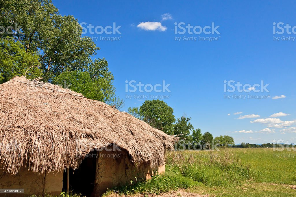 Oklahoma: Traditional Native AMerican House (reconstruction) at Spiro Mounds stock photo