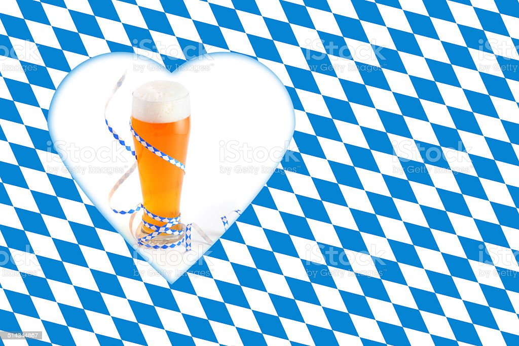 Okobterfest Weissbier with bavarian streamer and flag stock photo