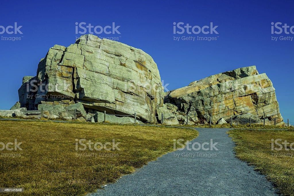 Okotoks Alberta's erratics with a deep blue clear sky stock photo