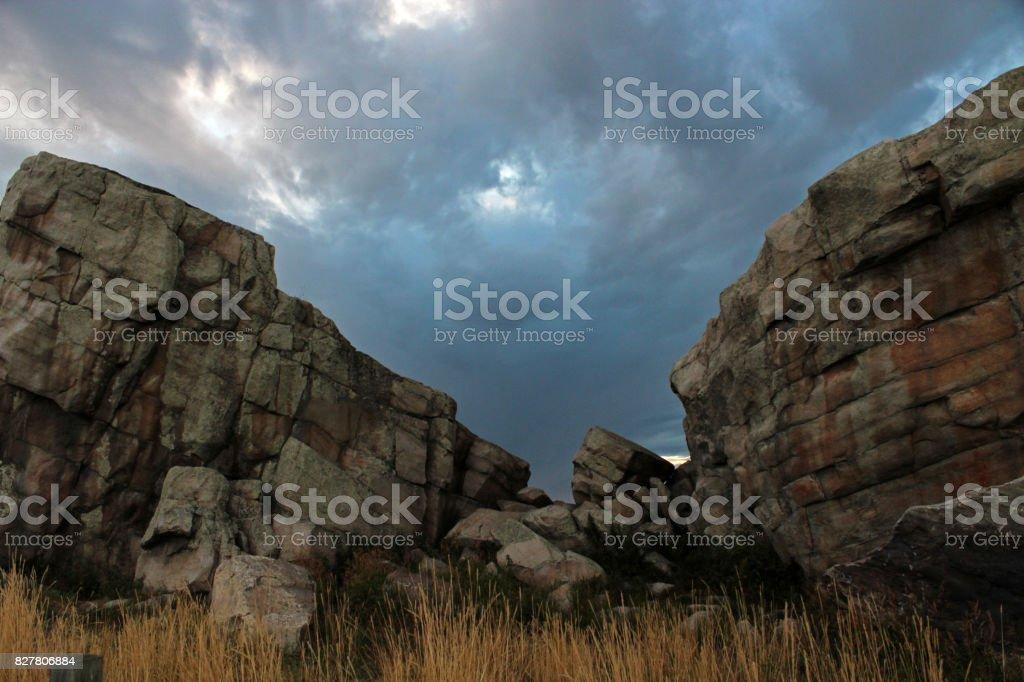 Okotoks Erratic, the Big Rock stock photo
