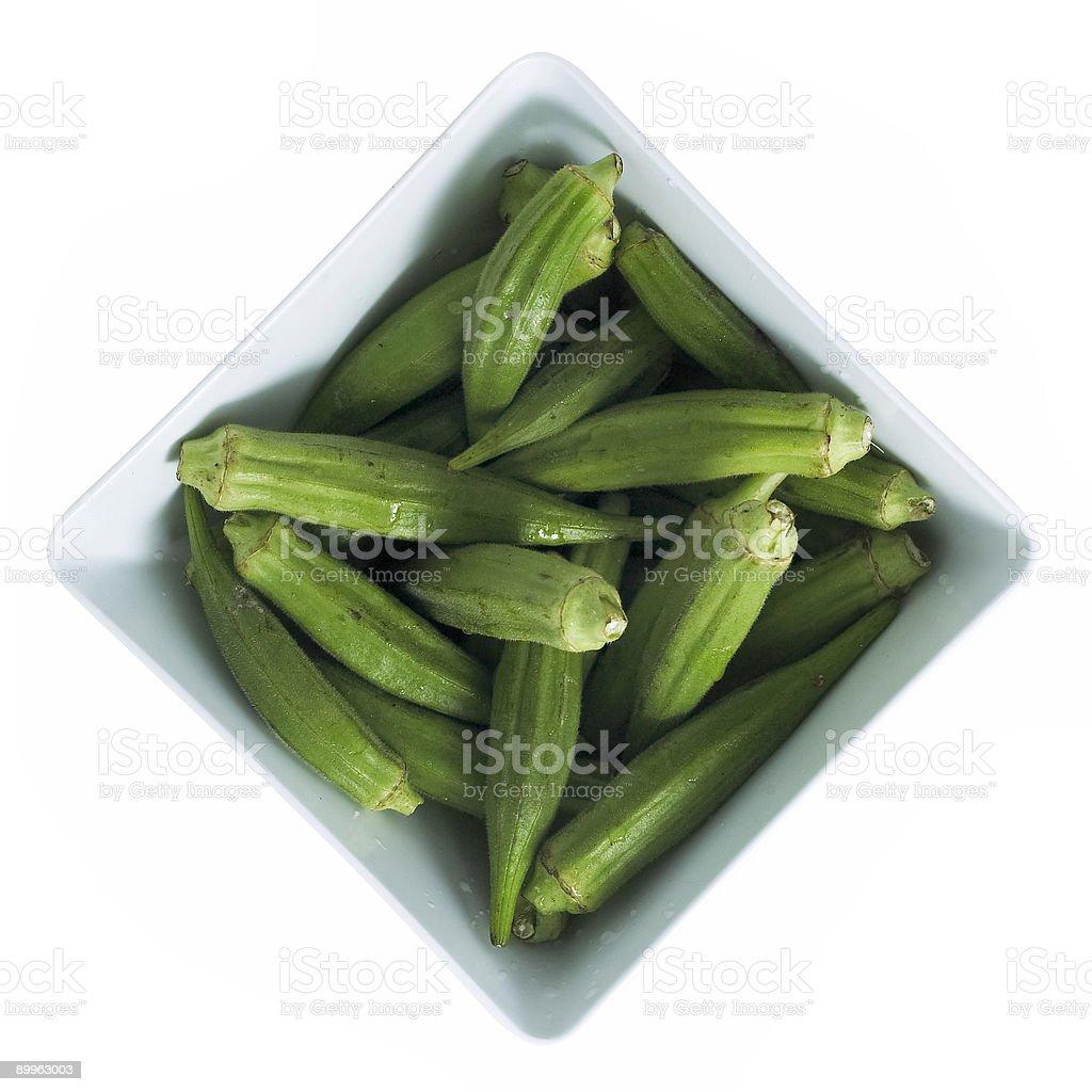 okra in bowl stock photo