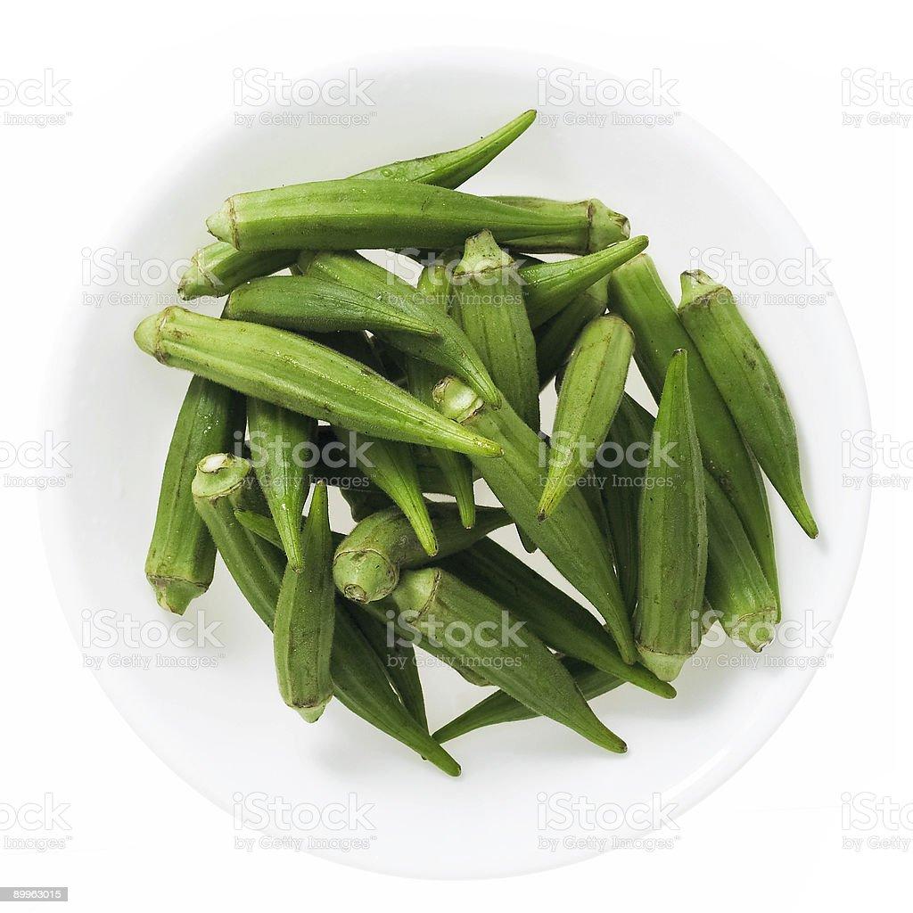 okra in round bowl stock photo