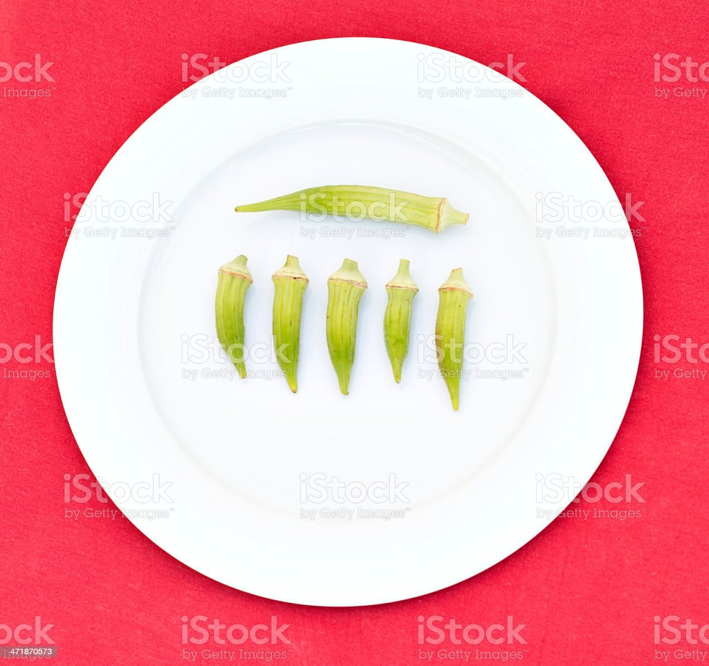 Okra on a White Plate royalty-free stock photo