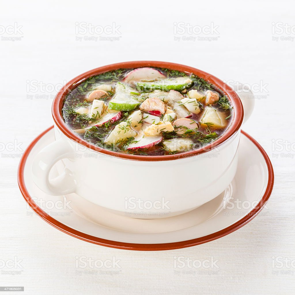 Okroshka - Cold Soup with Vegetables royalty-free stock photo