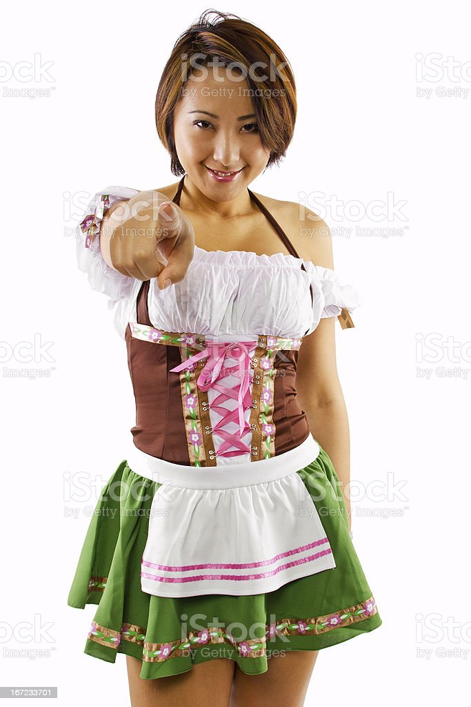 Oktoberfest Bartender Pointing at the Viewer royalty-free stock photo