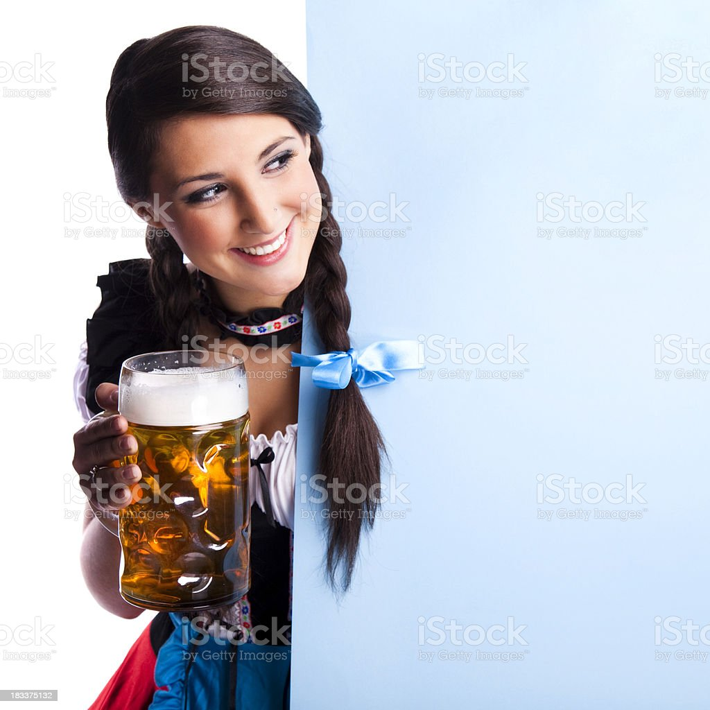 Oktoberfest Bavarian girl with beer royalty-free stock photo