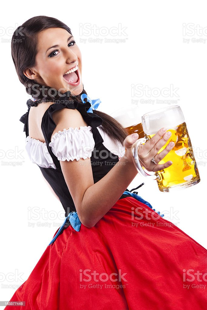 Oktoberfest Bavarian girl with beers royalty-free stock photo