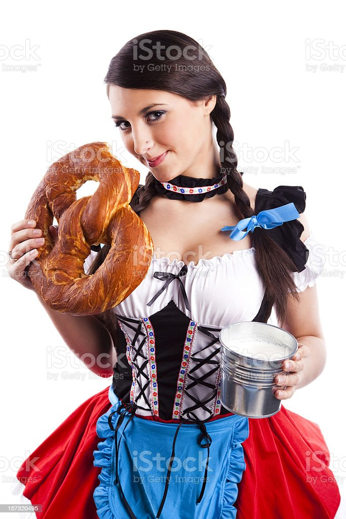 Oktoberfest Bavarian girl with pretzel and milk mug royalty-free stock photo