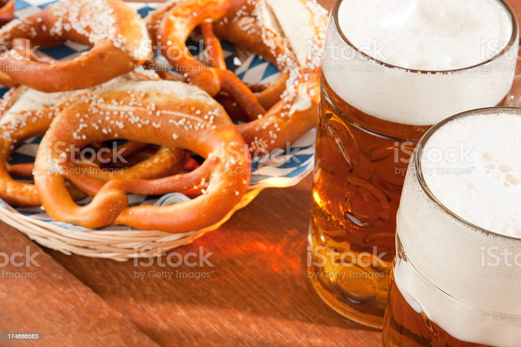 Oktoberfest Beer Mug and pretzel stock photo