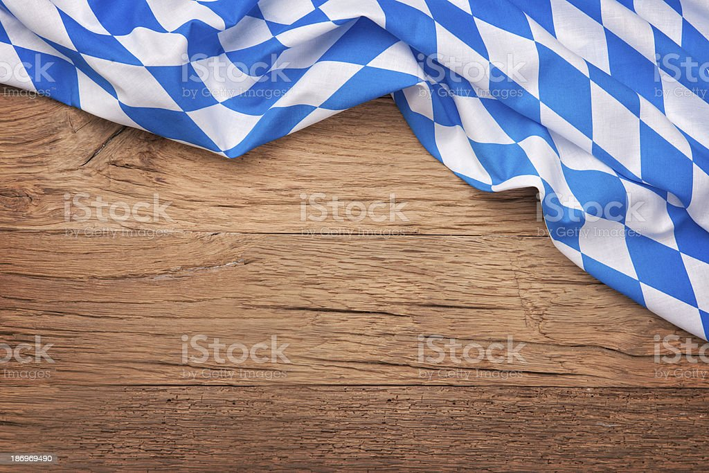 Oktoberfest blue checkered fabric stock photo